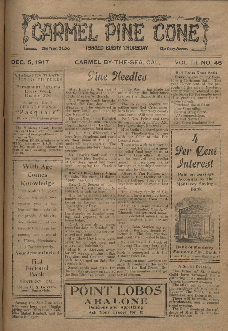 Front page of the                 December 5, 1917, Carmel Pine Cone