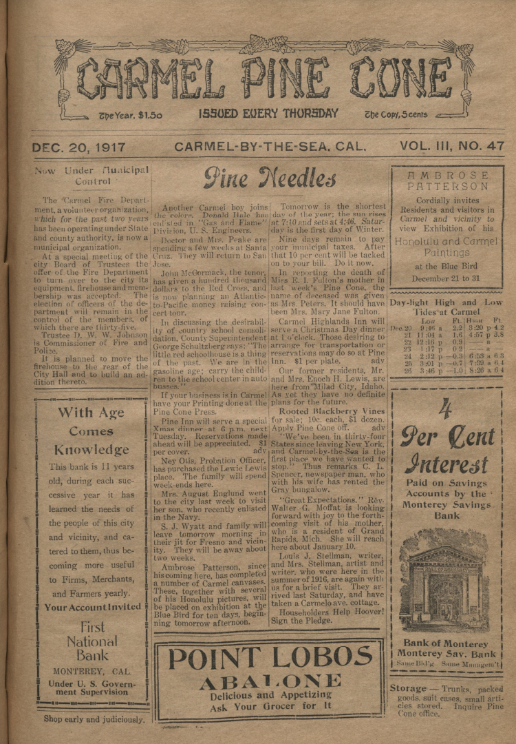 Front page of the                 December 20, 1917, Carmel Pine Cone