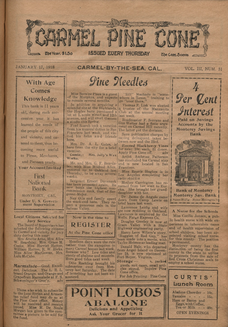 front page of the                 January 17, 1918, Carmel Pine Cone