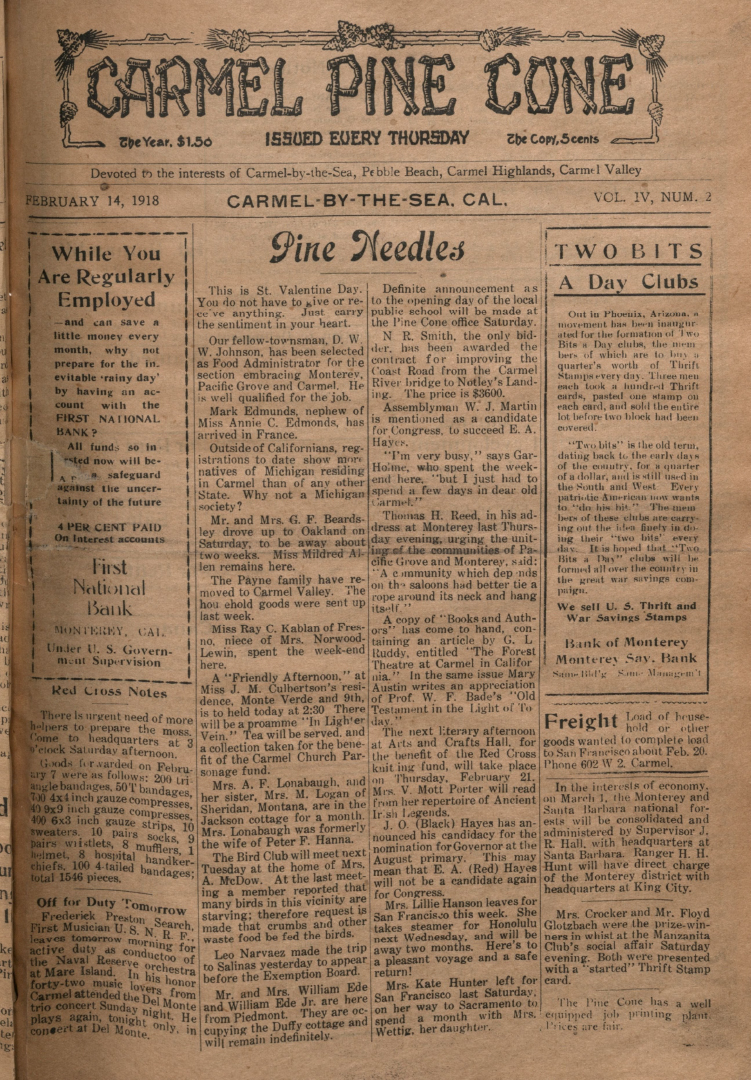 front page of the                 February 14, 1918, Carmel Pine Cone