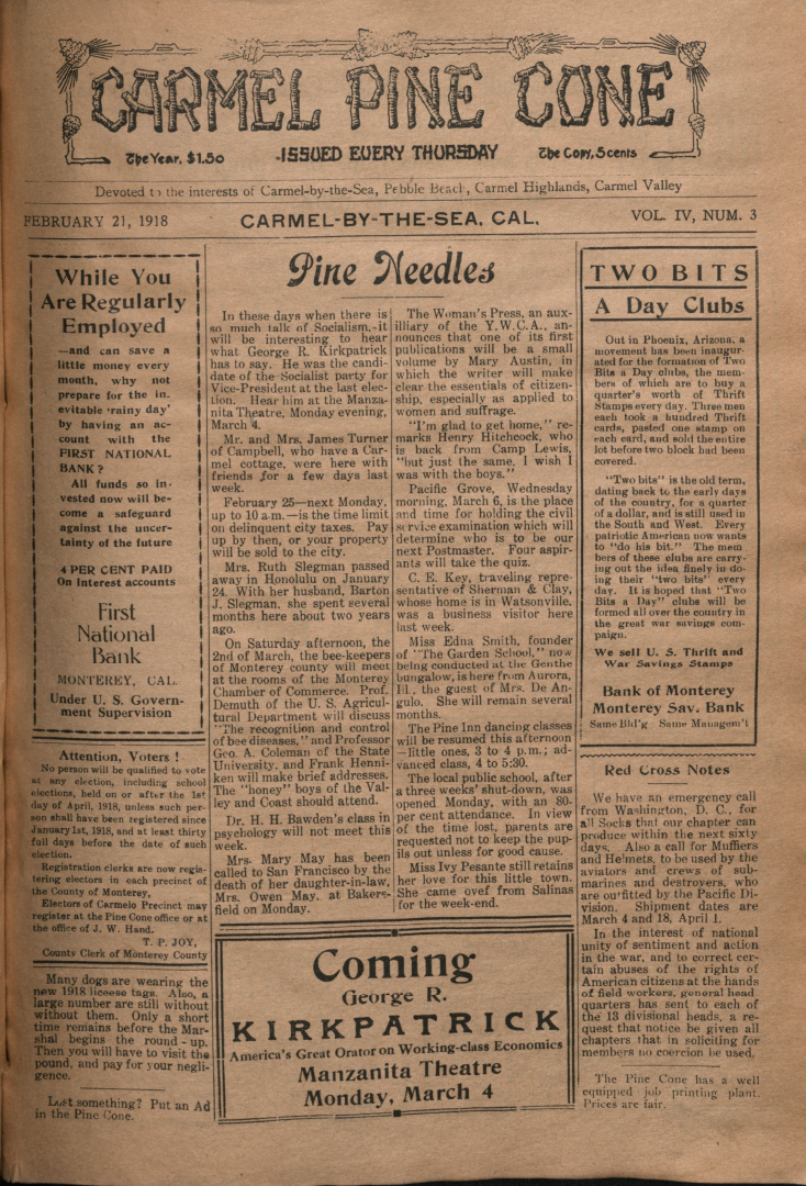 front page of the                 February 21, 1918, Carmel Pine Cone