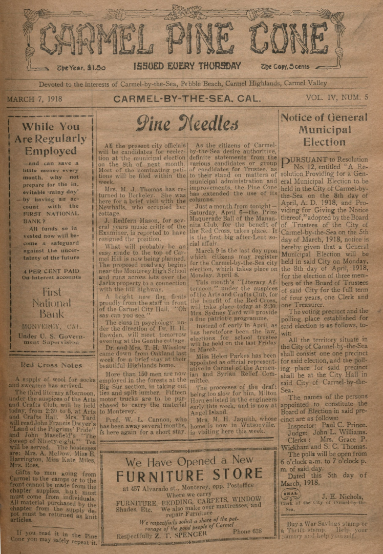 front page of the                 March 7, 1918, Carmel Pine Cone
