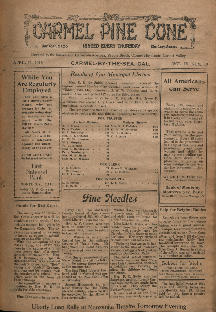 front page of the                 April 11, 1918, Carmel Pine Cone