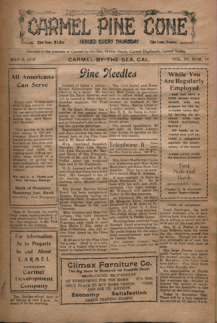 front page of the May                 9, 1918, Carmel Pine Cone