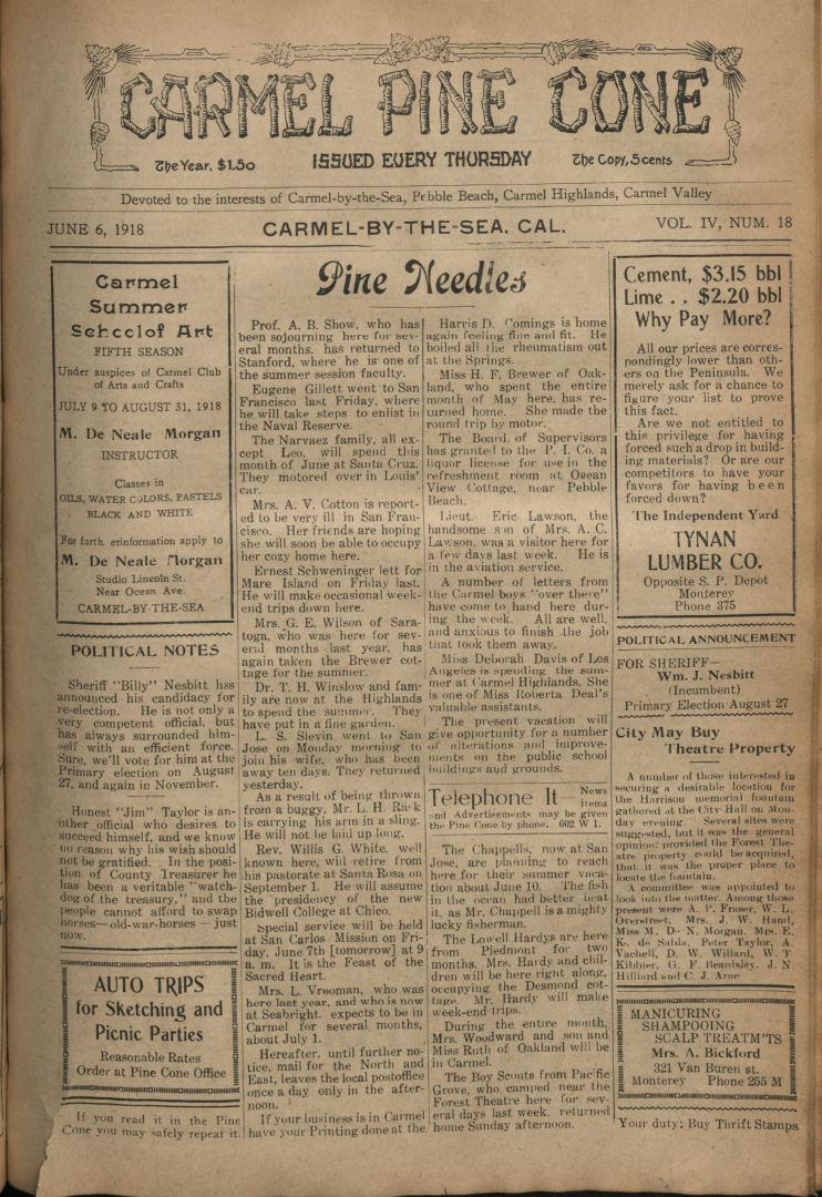 Front page of the                 June 6, 1918, Carmel Pine Cone