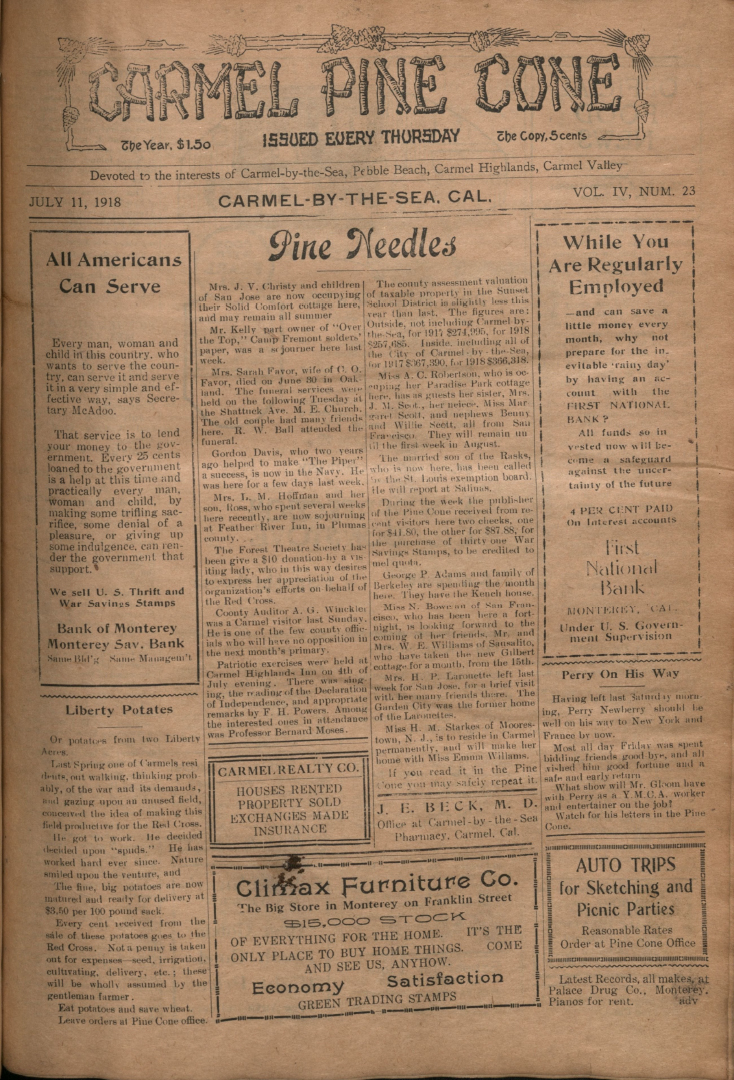 front page of the                 July 11, 1918, Carmel Pine Cone