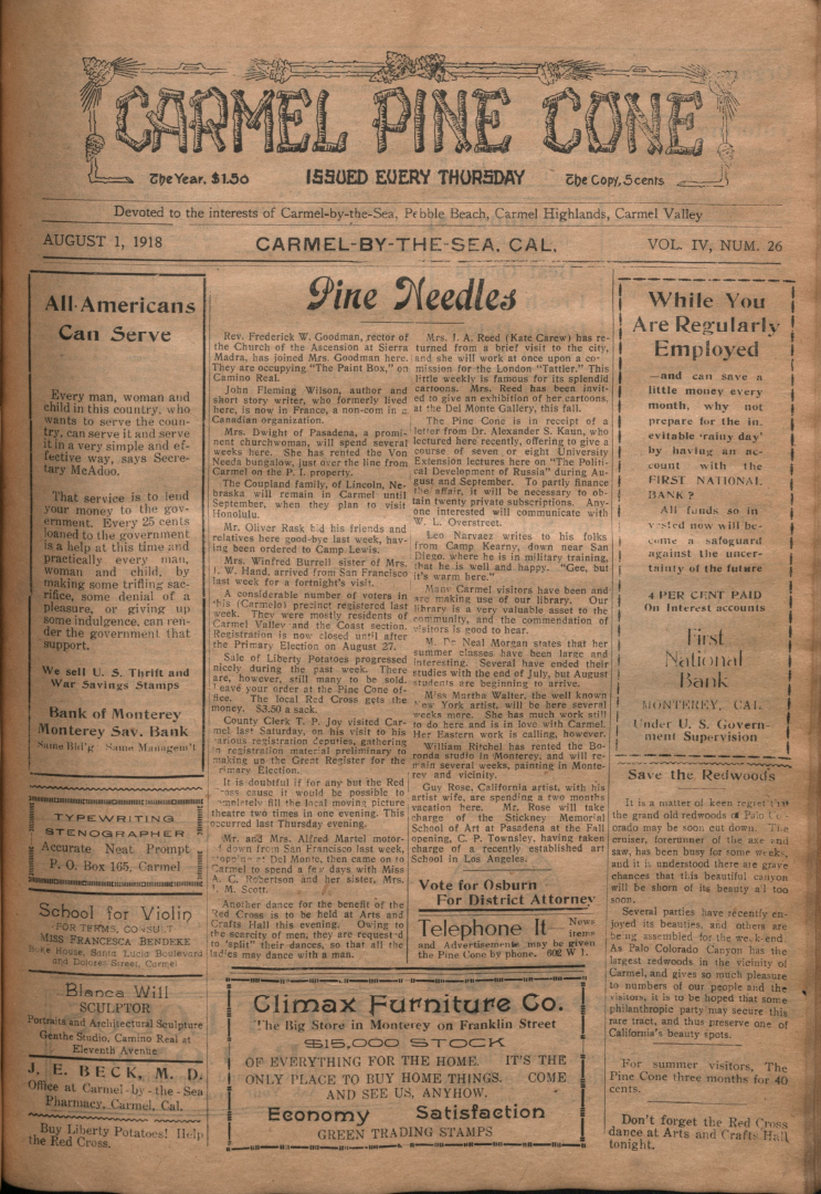 front page of the                 August 1, 1918, Carmel Pine Cone