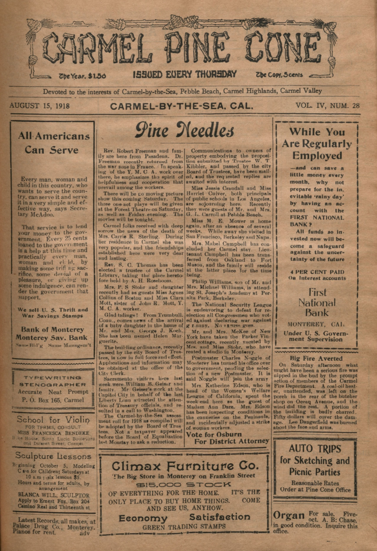 front page of the                 August 15, 1918, Carmel Pine Cone