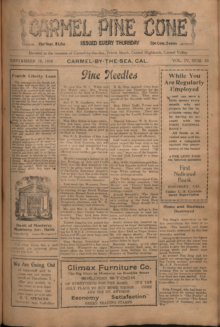 Front page of the                 September 19, 1918, Carmel Pine Cone