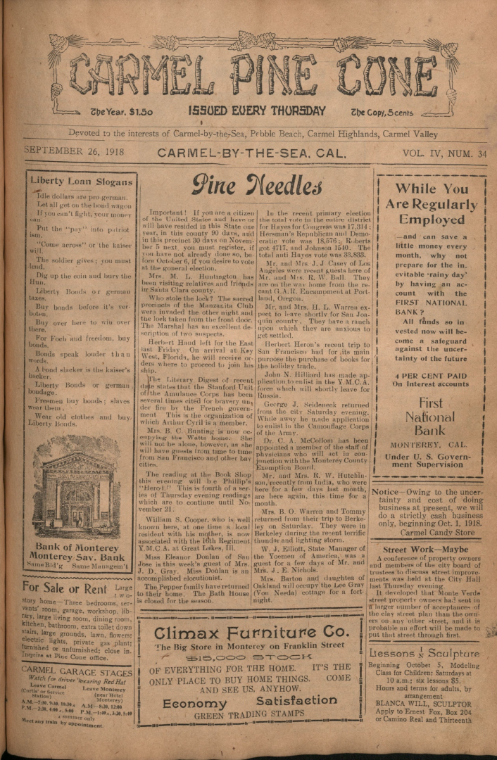 Front page of the                 September 26, 1918, Carmel Pine Cone