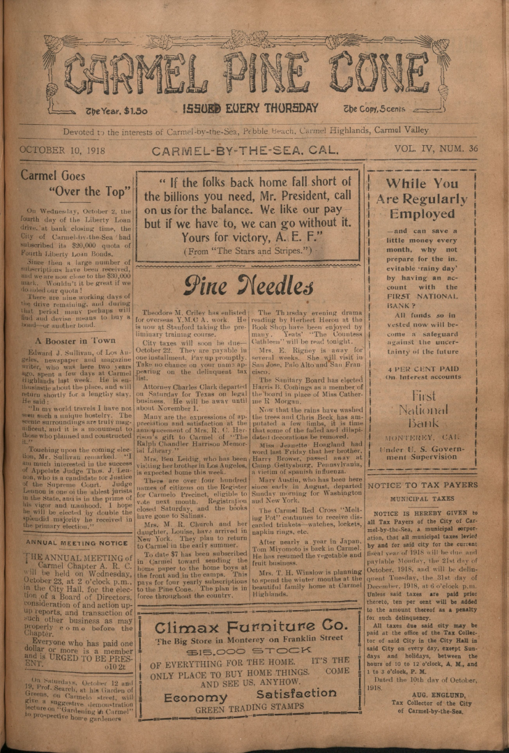 front page of the                 October 10, 1918, Carmel Pine Cone