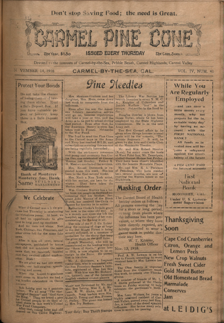 front page of the                 November 14, 1918, Carmel Pine Cone
