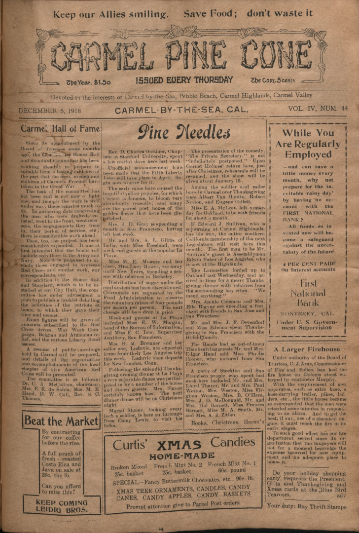 Front page of the                 December 5, 1918, Carmel Pine Cone