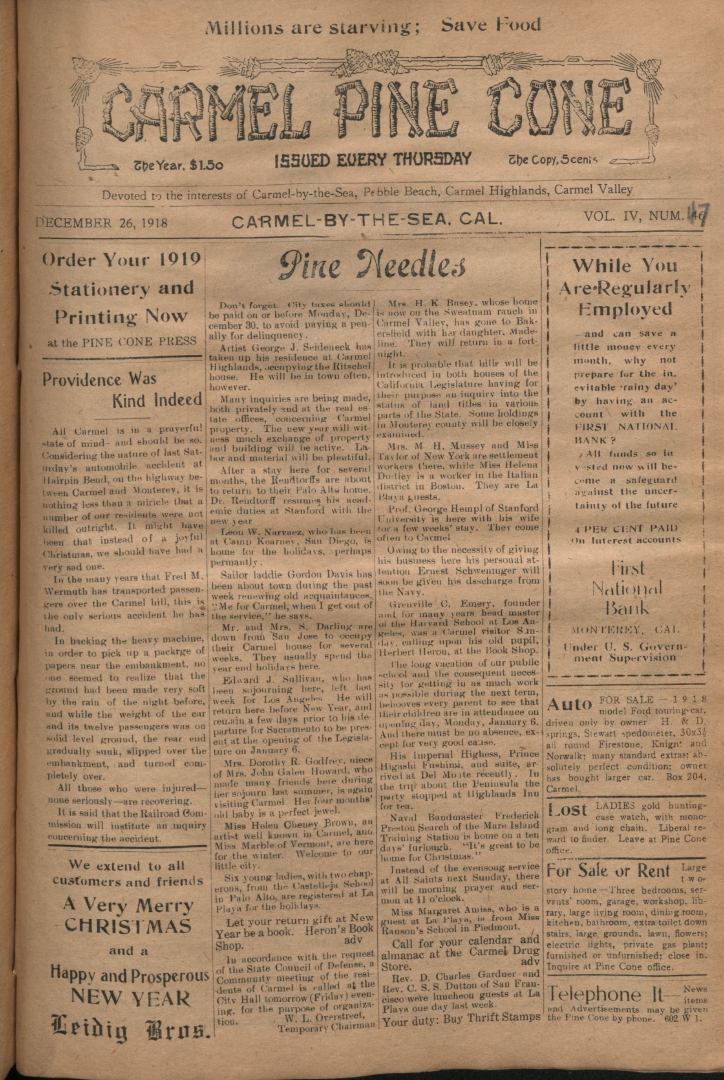 Front page of the                 December 26, 1918, Carmel Pine Cone