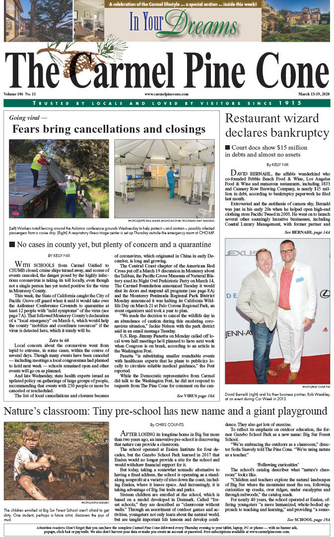The March                 13, 2020, front page of The Carmel Pine Cone