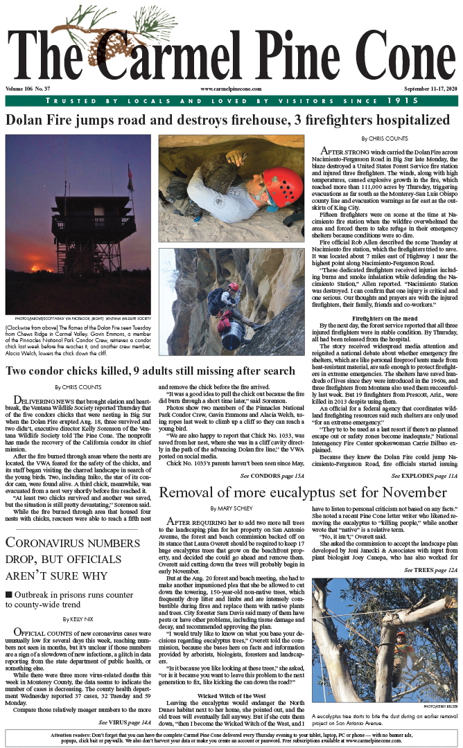 The                 September 11, 2020, front page of The Carmel Pine Cone